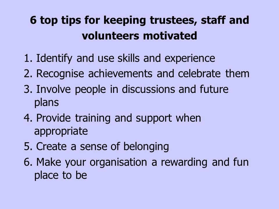 6 top tips for keeping trustees, staff and