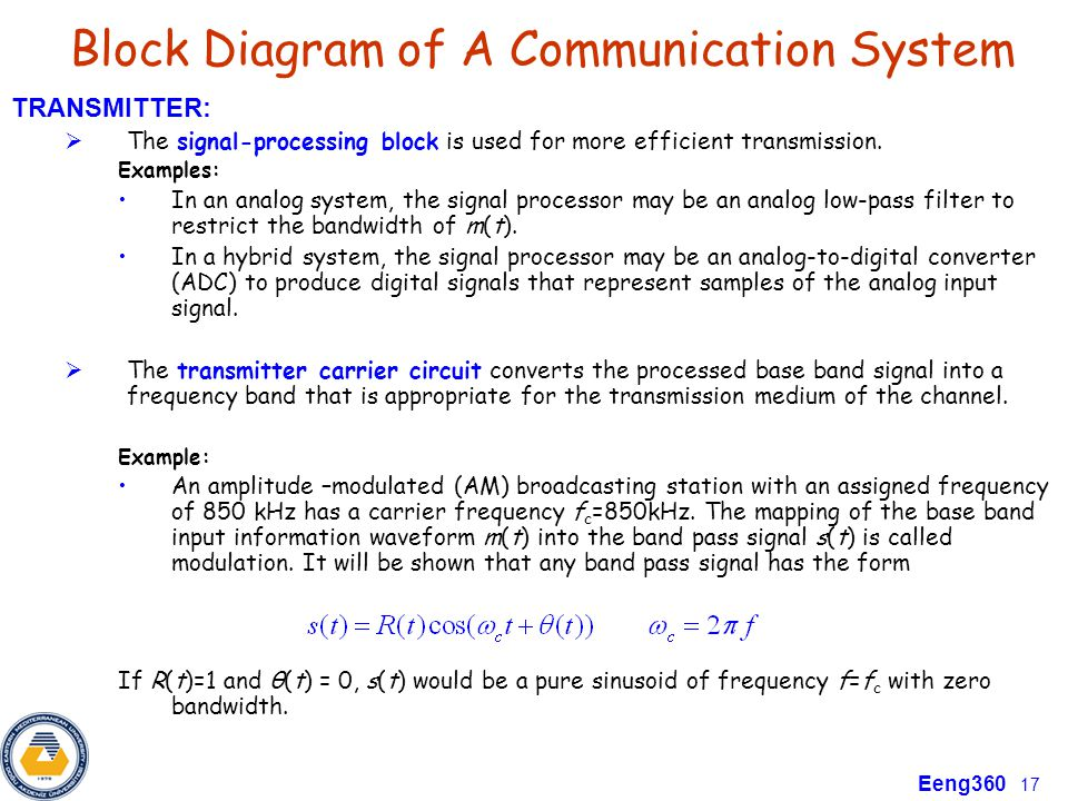 Eeng 360 communication systems i course information ppt video block diagram of a communication system ccuart Gallery