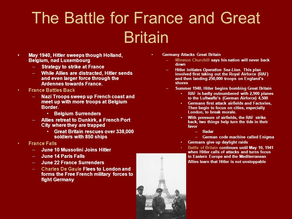 The Battle for France and Great Britain