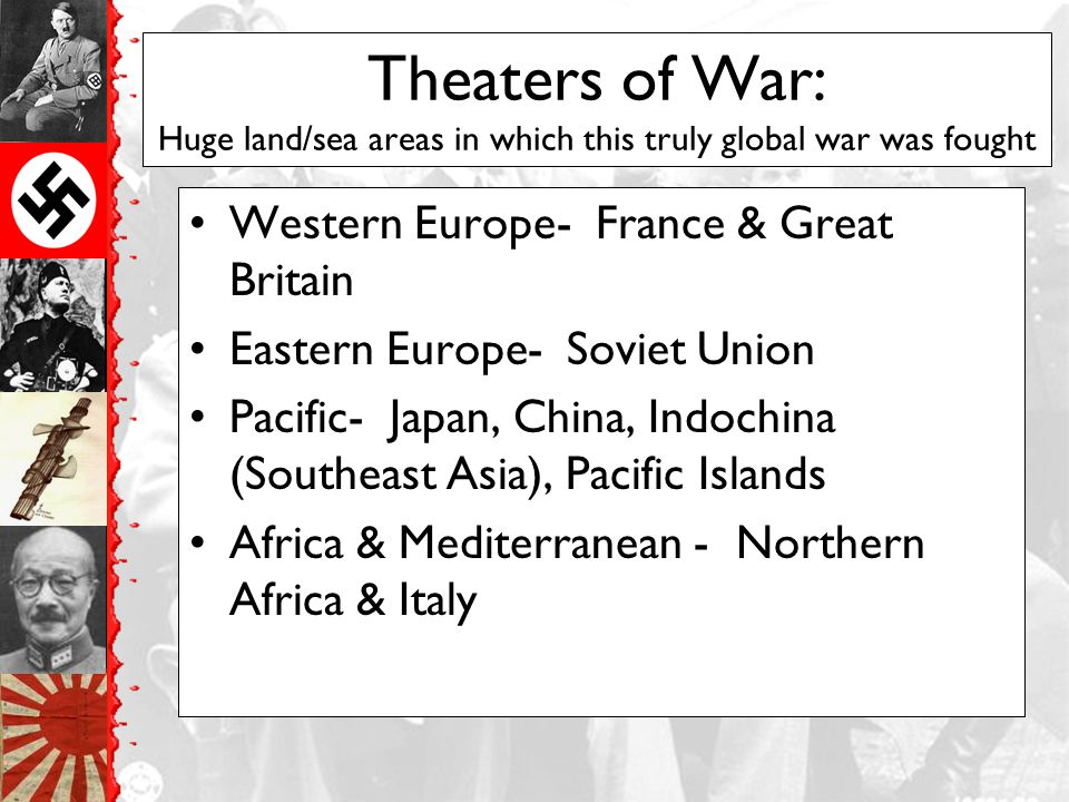 Theaters of War: Huge land/sea areas in which this truly global war was fought