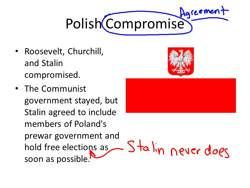 Polish Compromise Roosevelt, Churchill, and Stalin compromised.