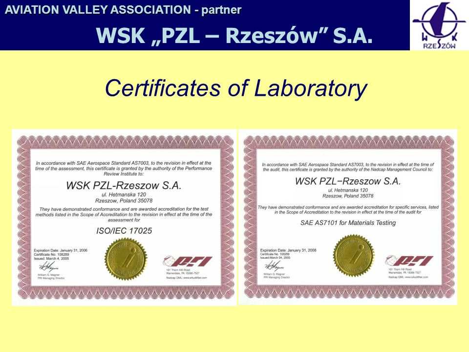 Certificates of Laboratory