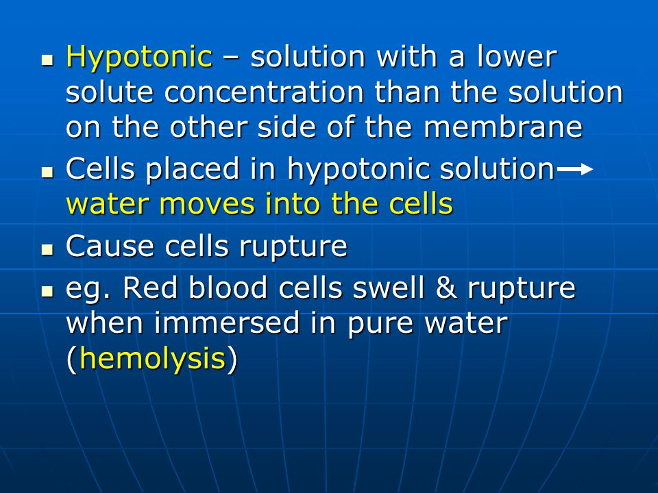 Hypotonic – solution with a lower solute concentration than the solution on the other side of the membrane