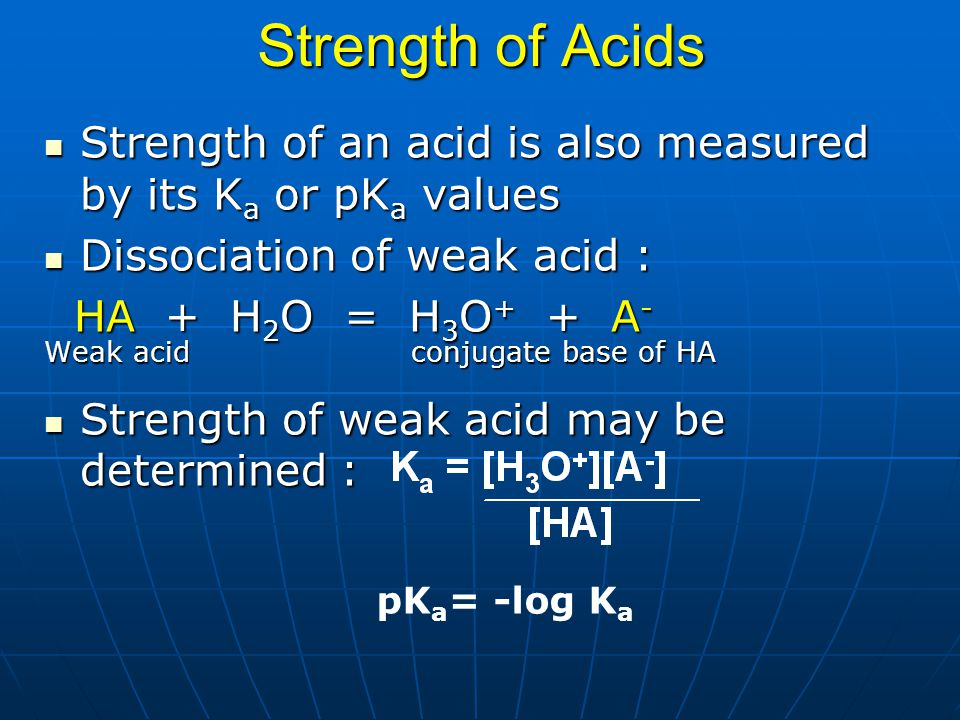 Strength of Acids Strength of an acid is also measured by its Ka or pKa values. Dissociation of weak acid :