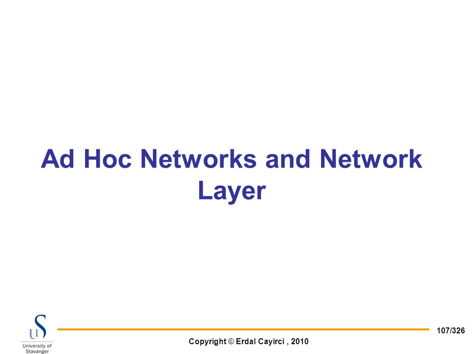 Ad Hoc Networks and Network Layer