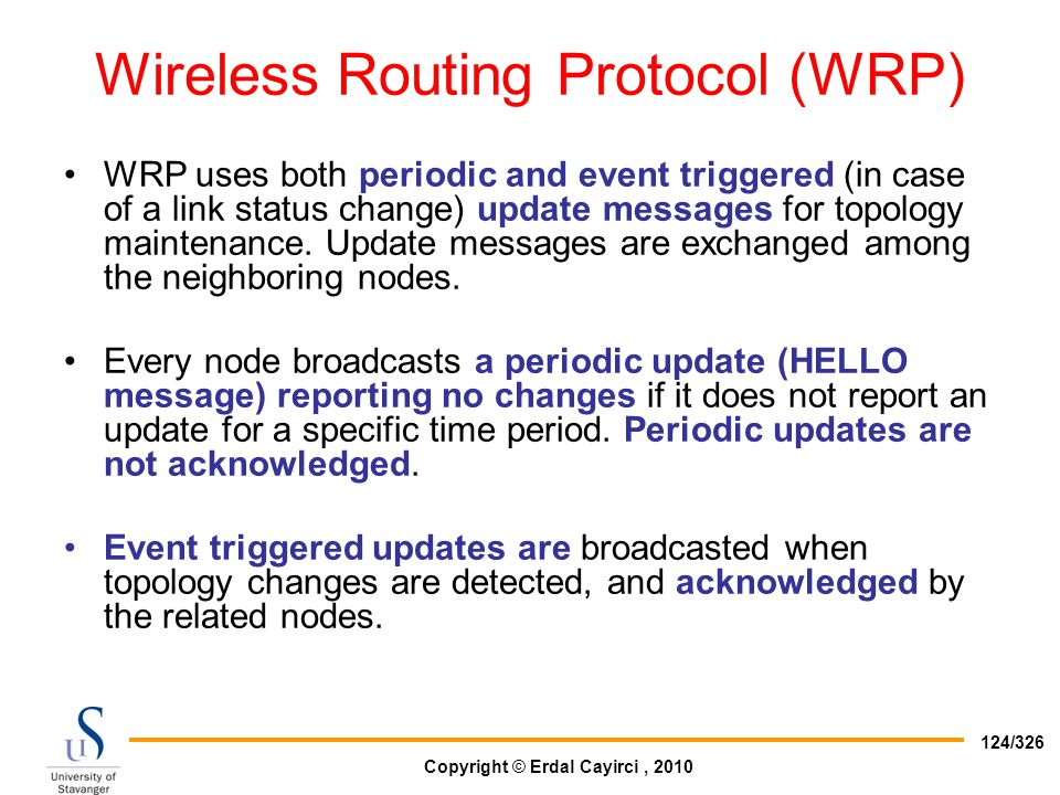 Wireless Routing Protocol (WRP)