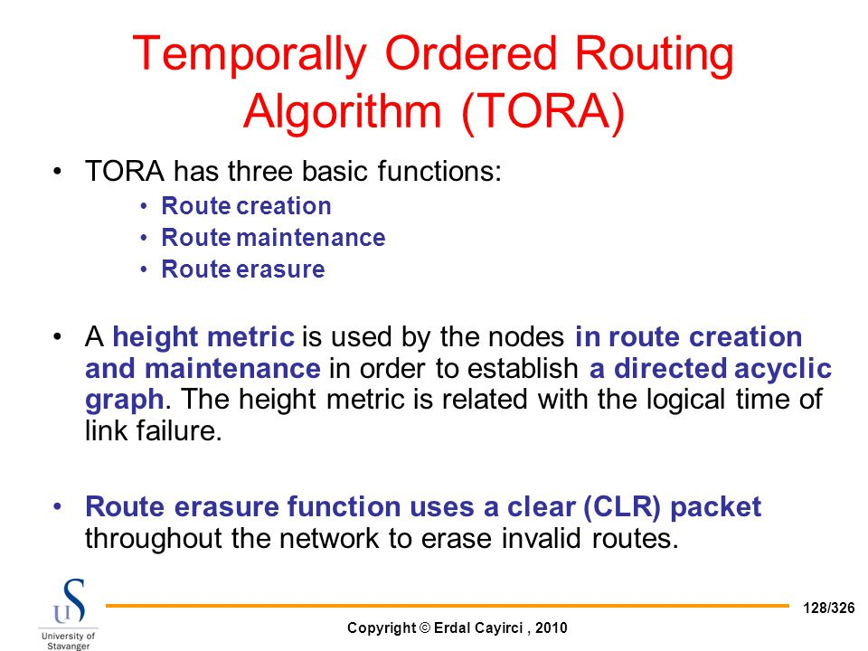 Temporally Ordered Routing Algorithm (TORA)