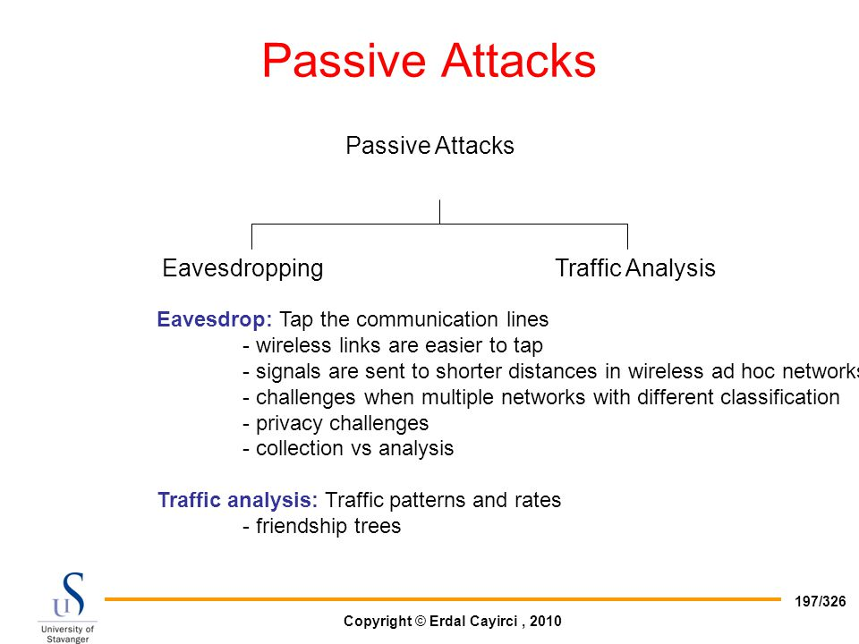 Passive Attacks Passive Attacks Eavesdropping Traffic Analysis