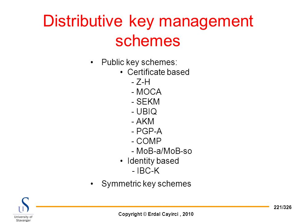 Distributive key management schemes