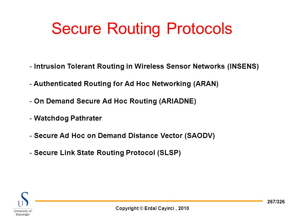 Secure Routing Protocols
