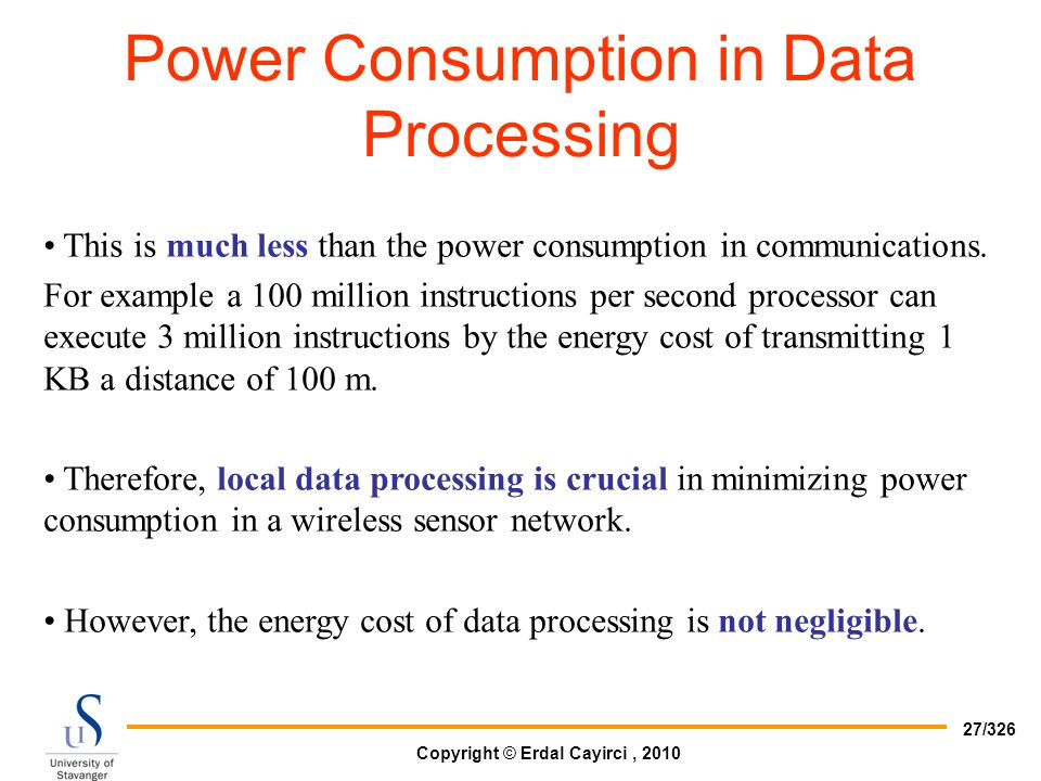 Power Consumption in Data Processing