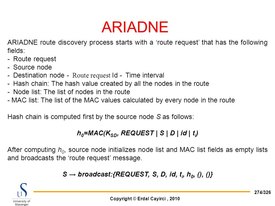ARIADNE ARIADNE route discovery process starts with a 'route request' that has the following fields: