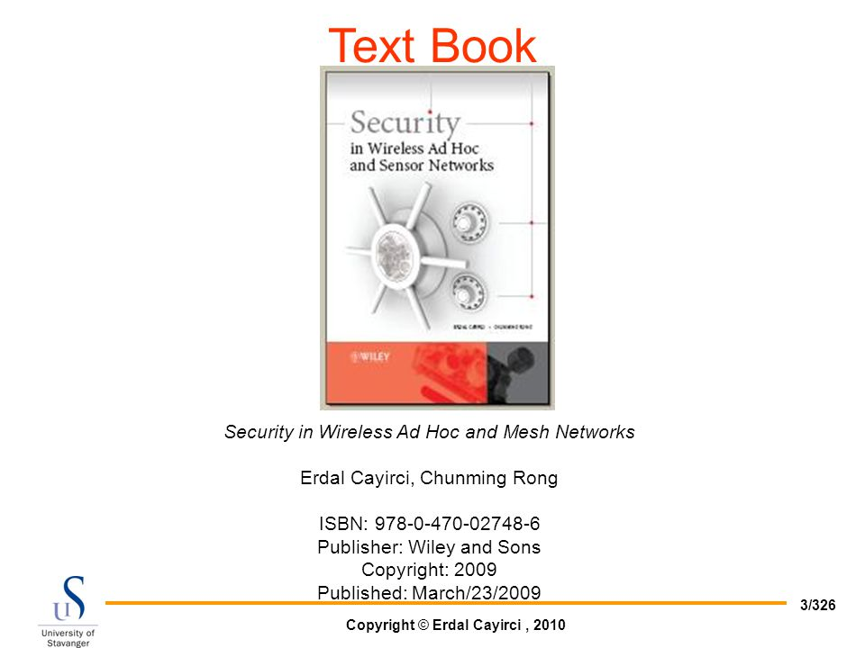 Text Book Security in Wireless Ad Hoc and Mesh Networks