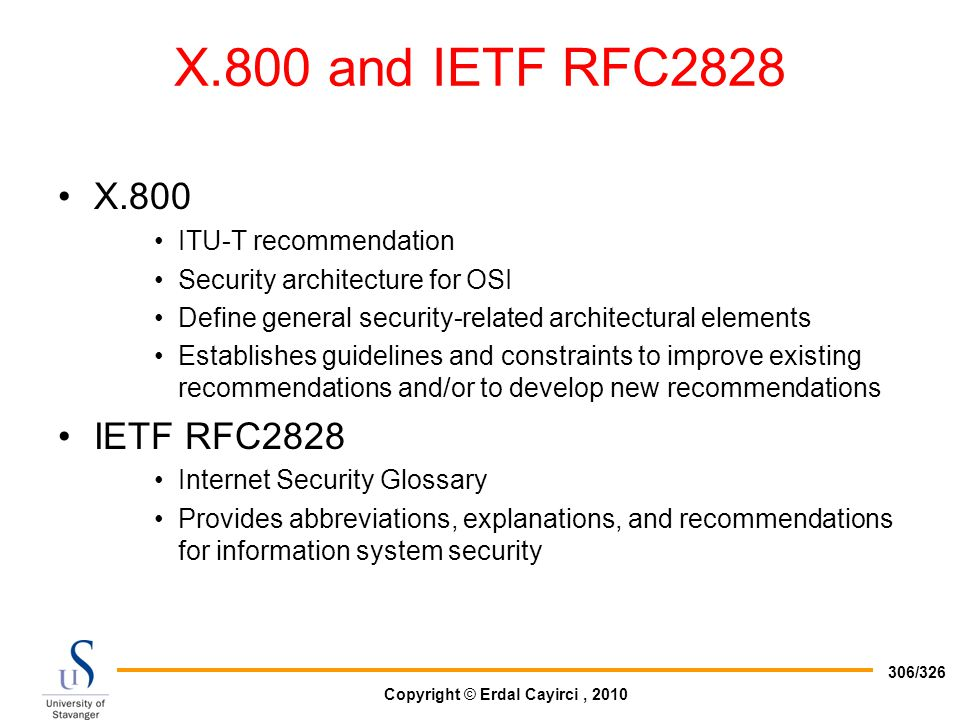 X.800 and IETF RFC2828 X.800 IETF RFC2828 ITU-T recommendation