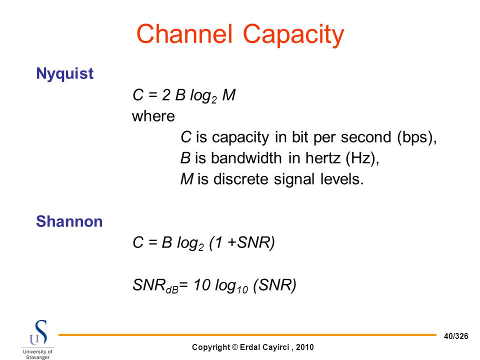 Channel Capacity Nyquist C = 2 B log2 M where