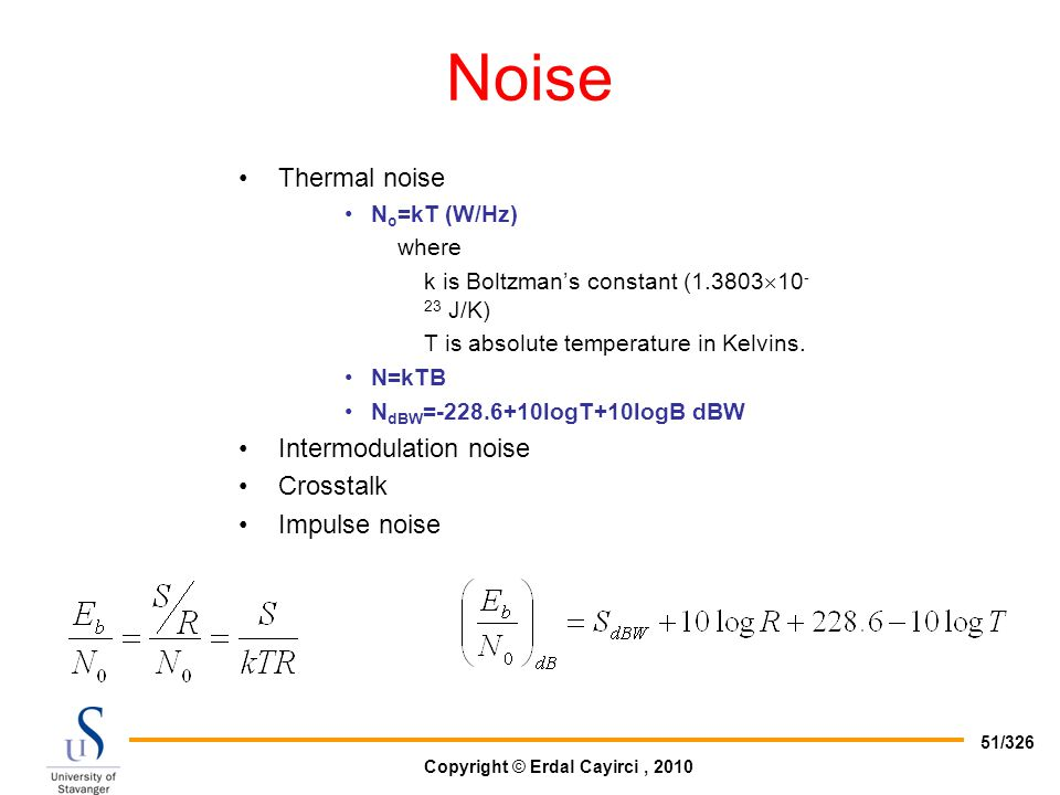 Noise Thermal noise Intermodulation noise Crosstalk Impulse noise