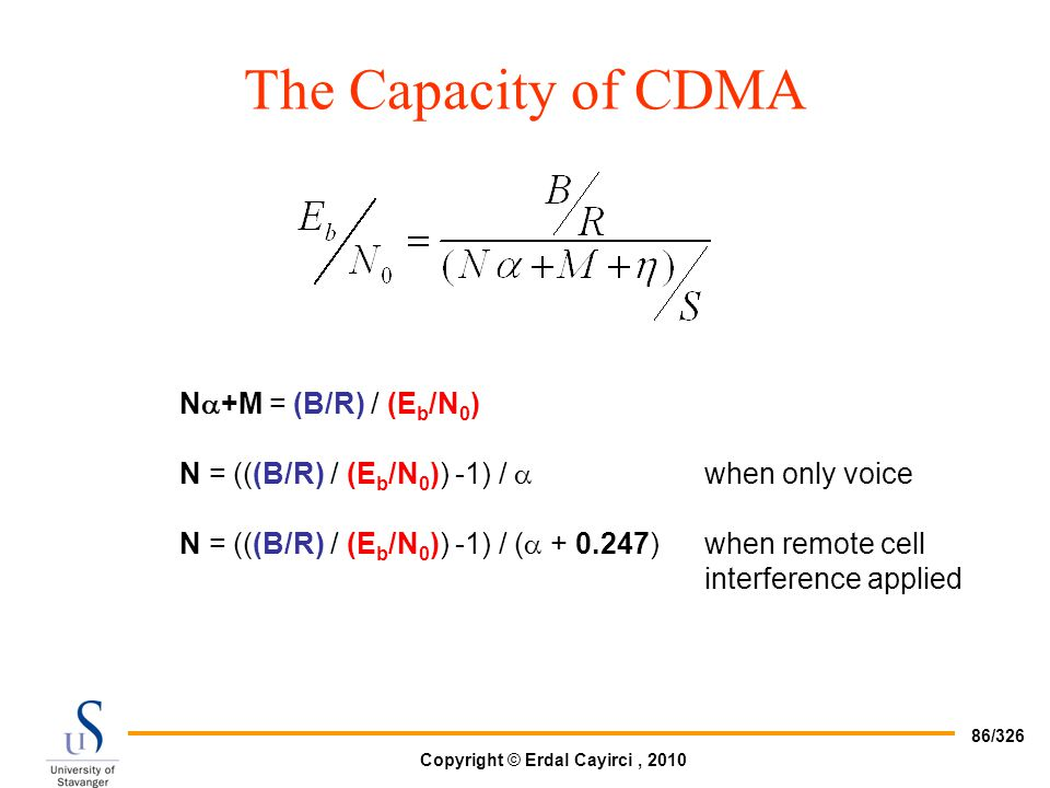 The Capacity of CDMA N+M = (B/R) / (Eb/N0)