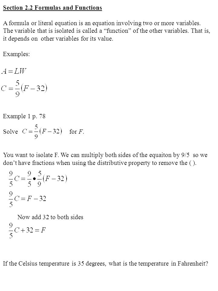 Section 2.2 Formulas and Functions