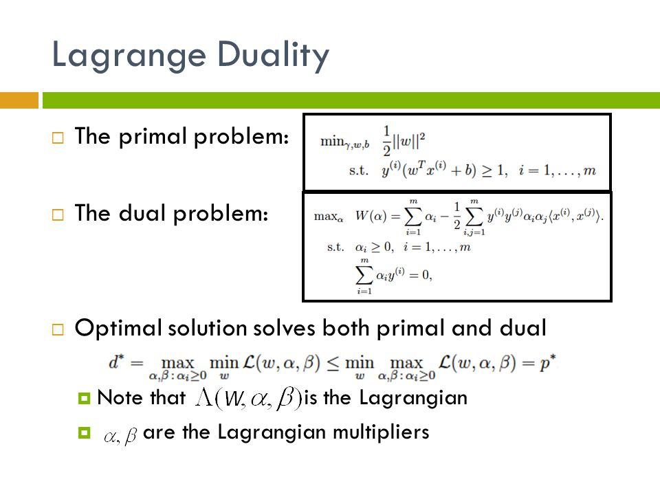 Lagrange Duality The primal problem: The dual problem: