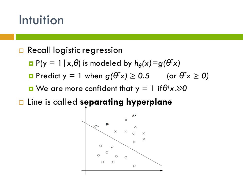 Intuition Recall logistic regression