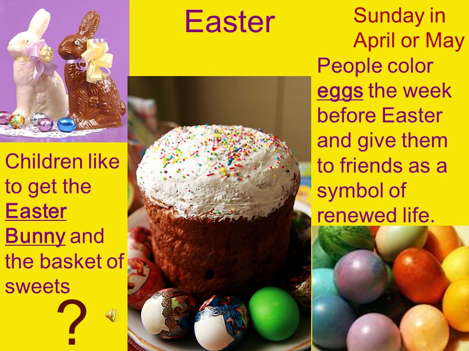 Easter Sunday in April or May People color