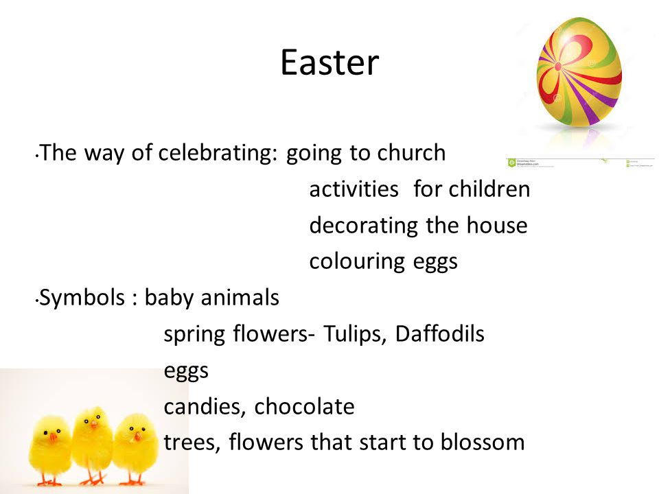 Easter The way of celebrating: going to church activities for children