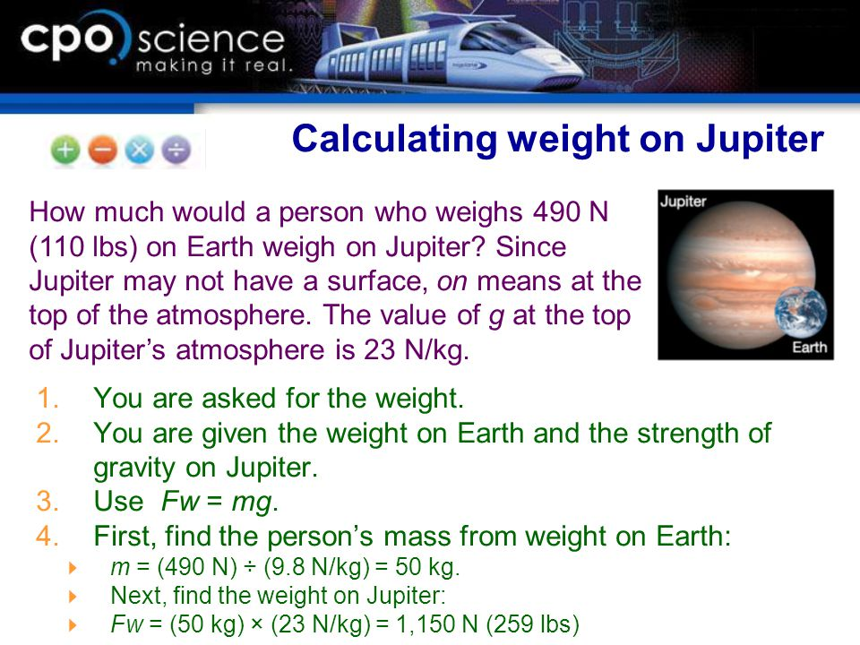 Calculating weight on Jupiter