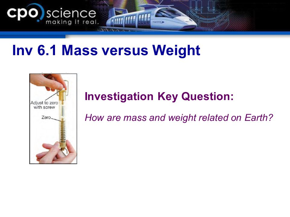 Inv 6.1 Mass versus Weight Investigation Key Question: