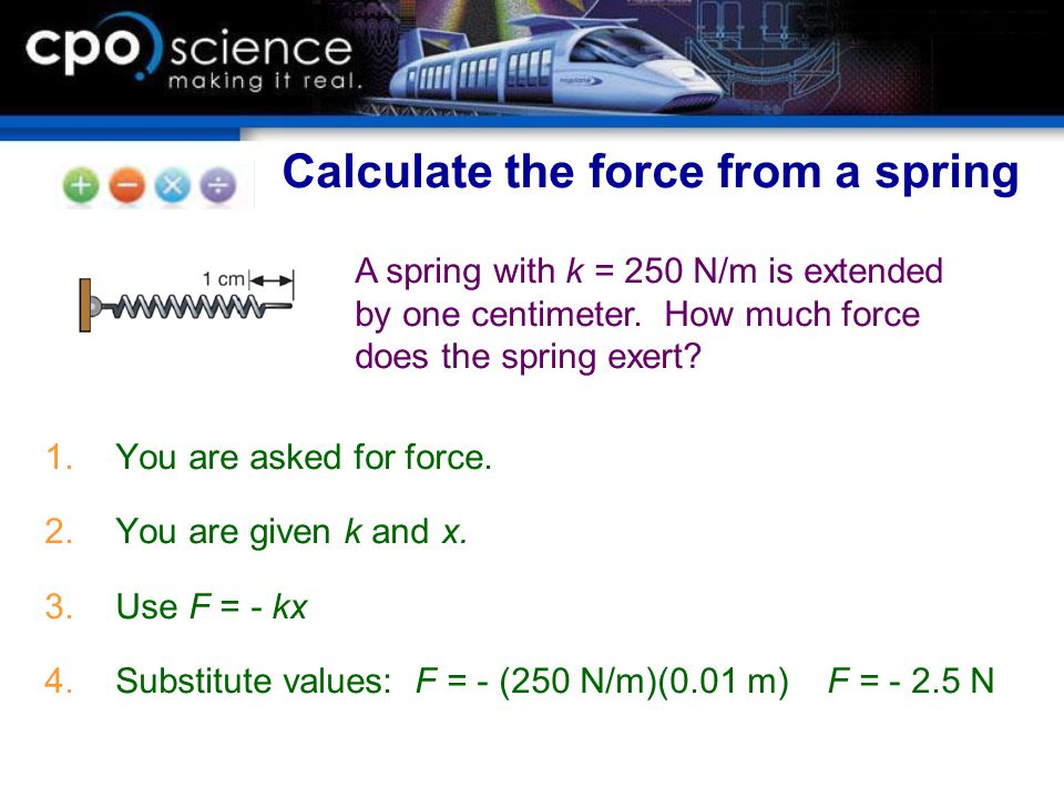 Calculate the force from a spring