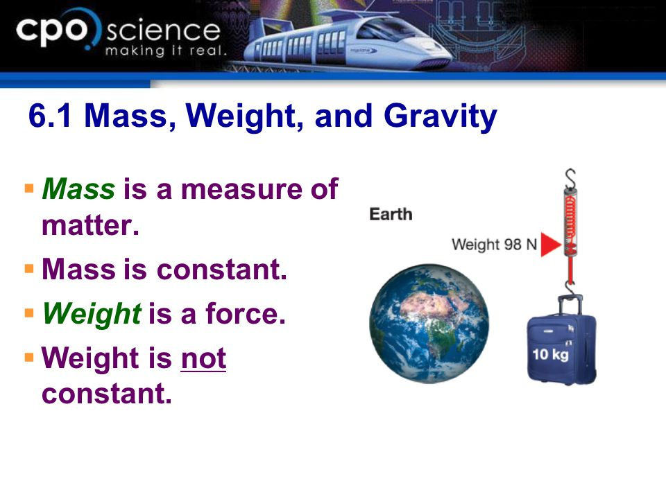 6.1 Mass, Weight, and Gravity