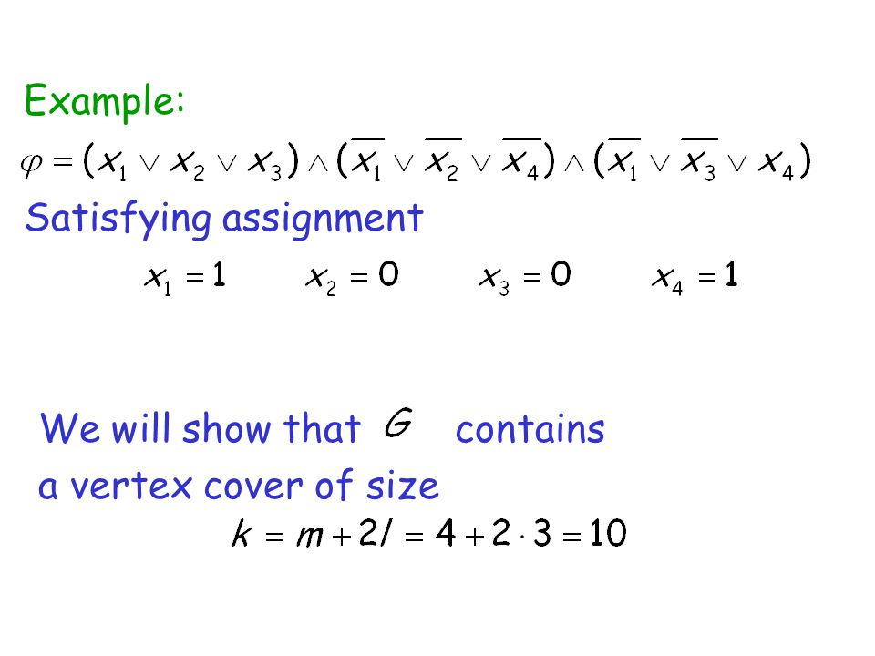 Example: Satisfying assignment We will show that contains a vertex cover of size