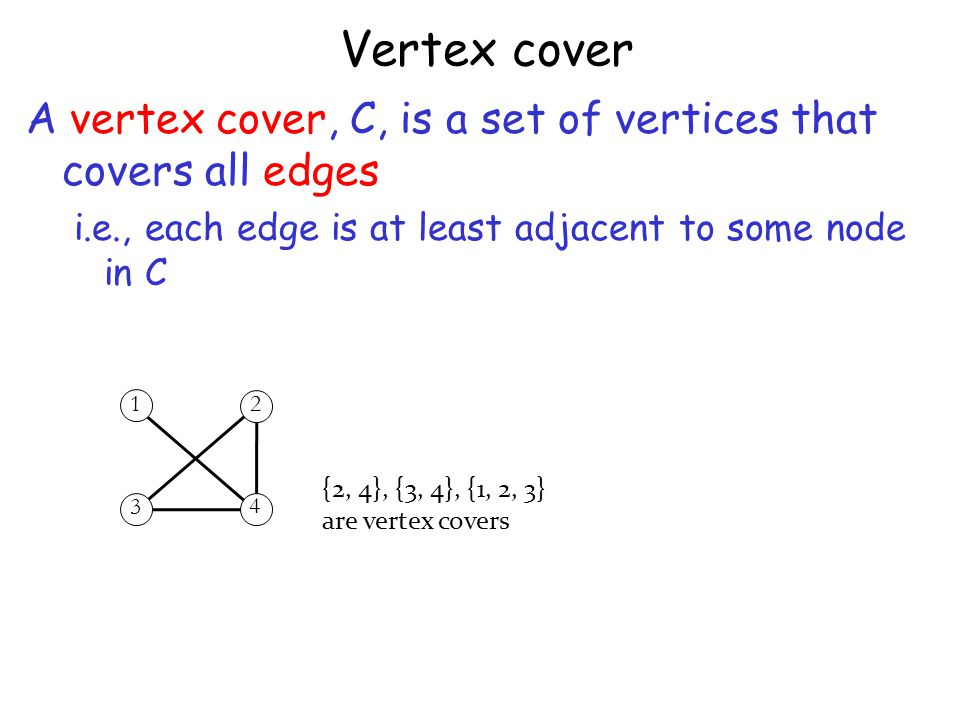 Vertex cover A vertex cover, C, is a set of vertices that covers all edges. i.e., each edge is at least adjacent to some node in C.