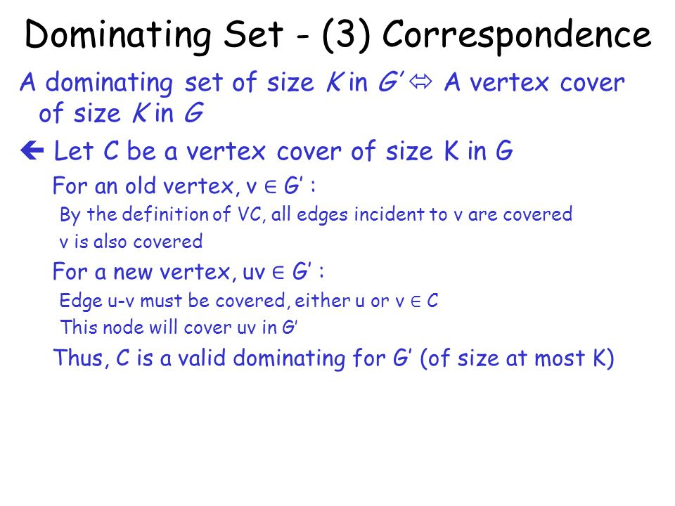 Dominating Set - (3) Correspondence
