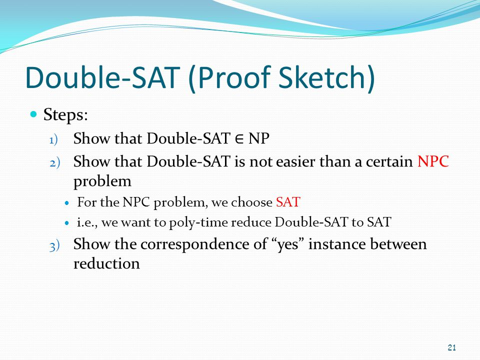 Double-SAT (Proof Sketch)