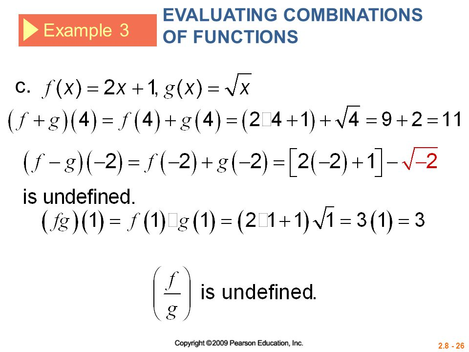 EVALUATING COMBINATIONS OF FUNCTIONS