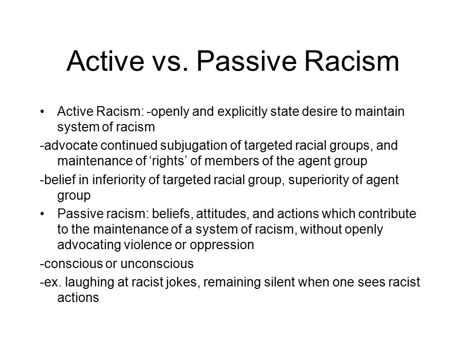 racist actions essay Structural racism is the most profound and pervasive form of racism – all other forms of racism (eg institutional, interpersonal, internalized, etc)  and actions that produce equitable power, access, opportunities, treatment, impacts and outcomes for all  examples include racist history, dominant cultural representations, popular.