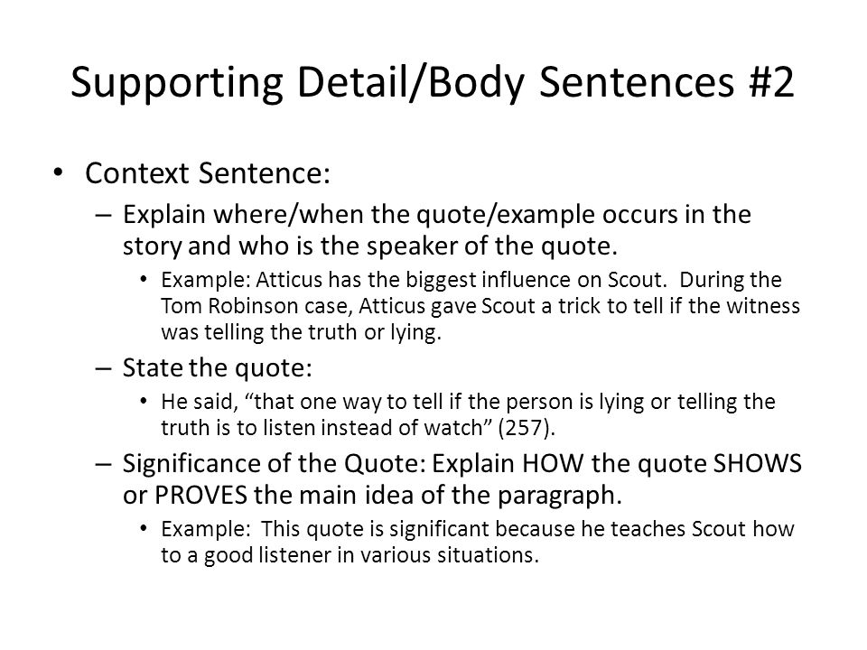 Supporting Detail/Body Sentences #2