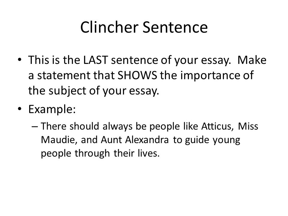 Clincher Sentence This is the LAST sentence of your essay. Make a statement that SHOWS the importance of the subject of your essay.