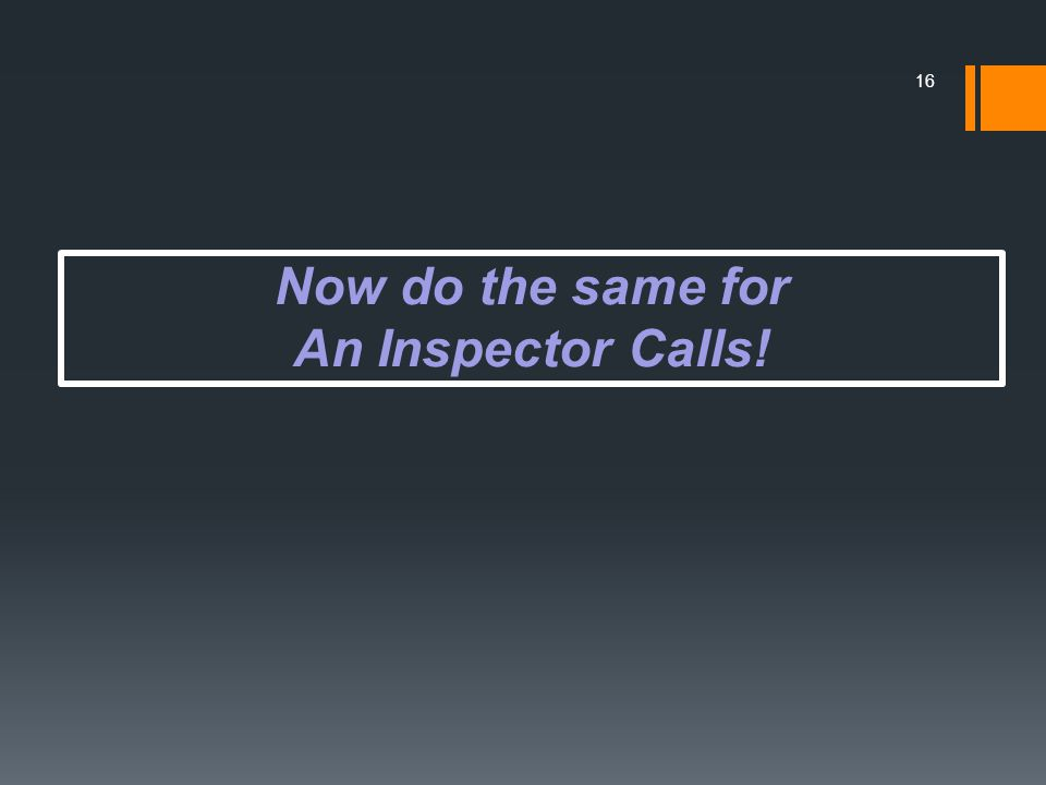 Now do the same for An Inspector Calls!