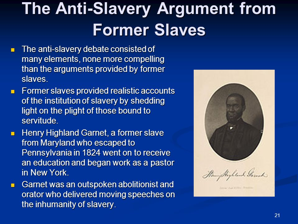 arguments for and against slavery