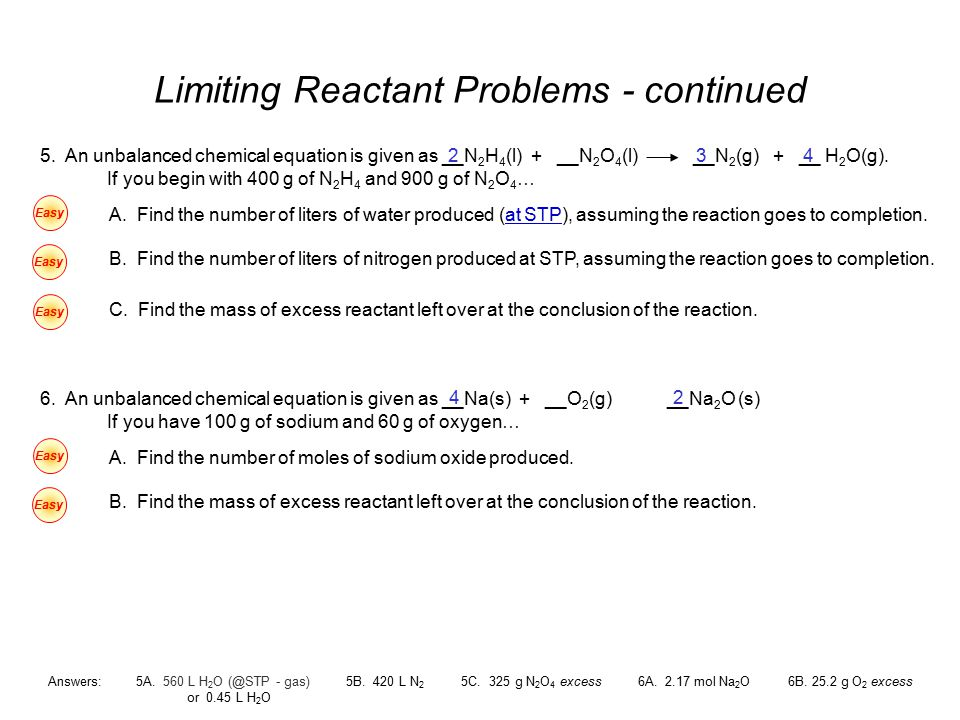 Excess Reactant. - ppt video online download