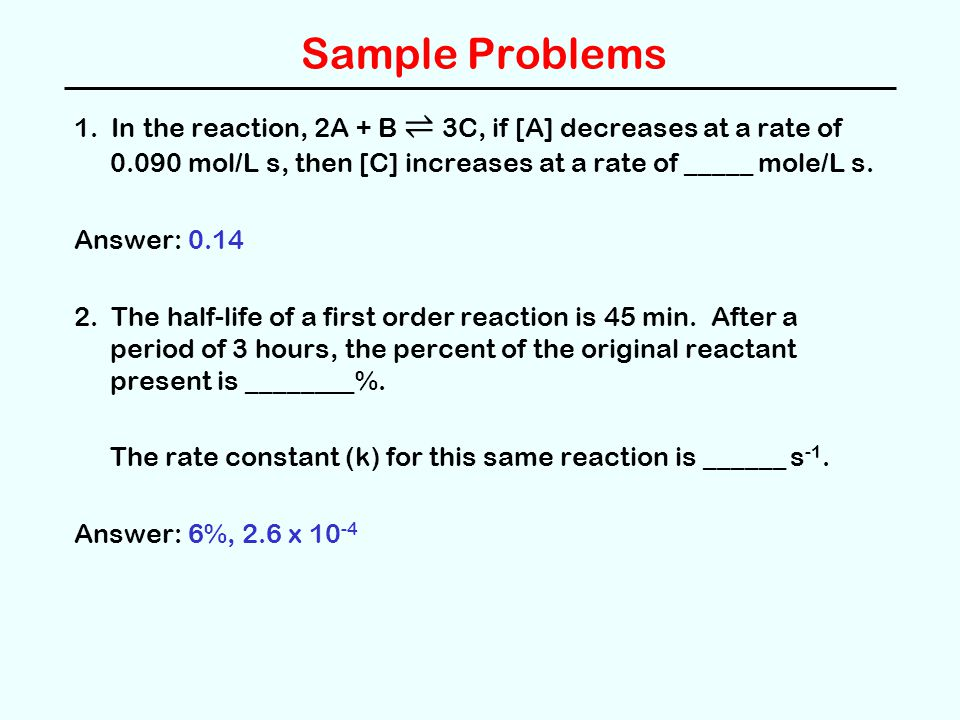 reaction rate practice problems