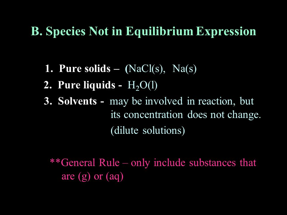 B. Species Not in Equilibrium Expression