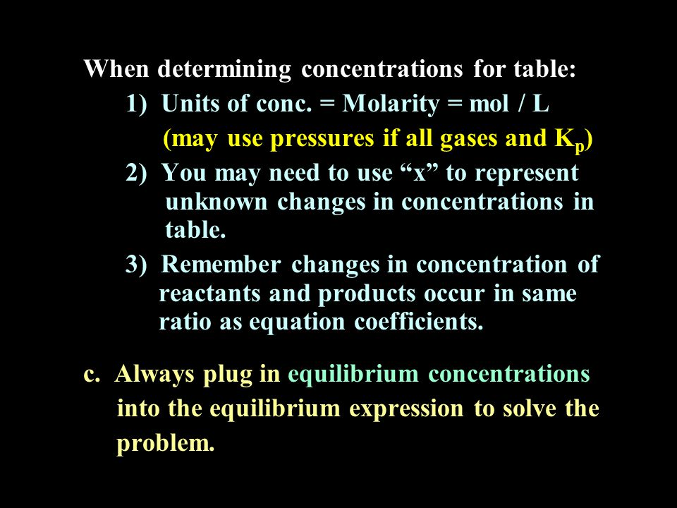 When determining concentrations for table: