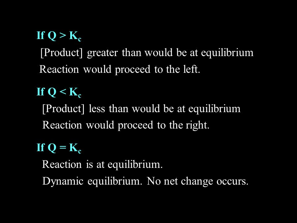 If Q > Kc [Product] greater than would be at equilibrium