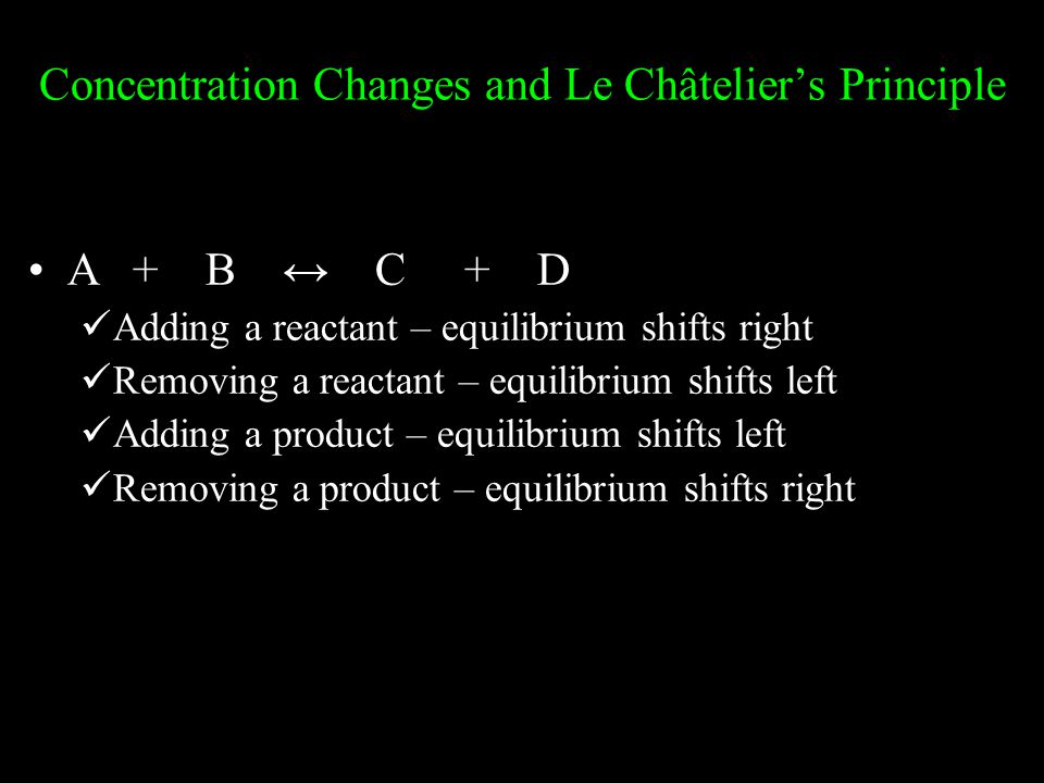 Concentration Changes and Le Châtelier's Principle