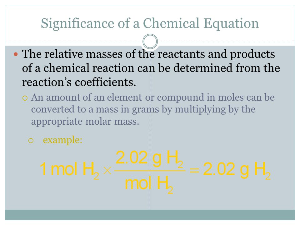 Significance of a Chemical Equation