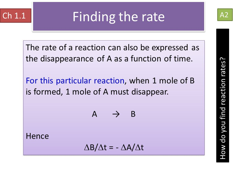 Finding the rate Ch 1.1. A2. The rate of a reaction can also be expressed as the disappearance of A as a function of time.