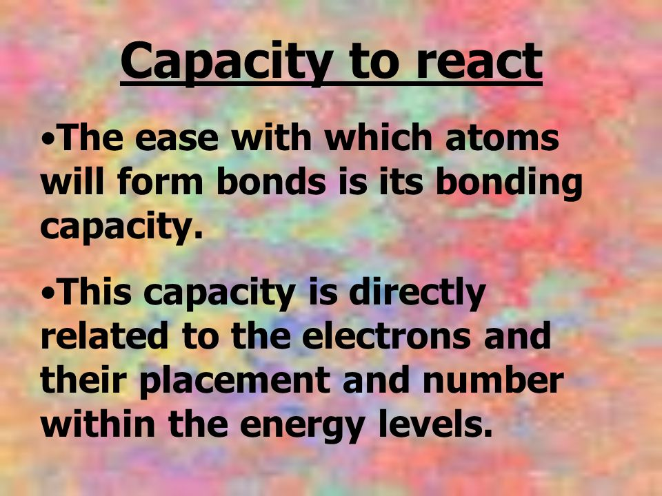 The ease with which atoms will form bonds is its bonding capacity.