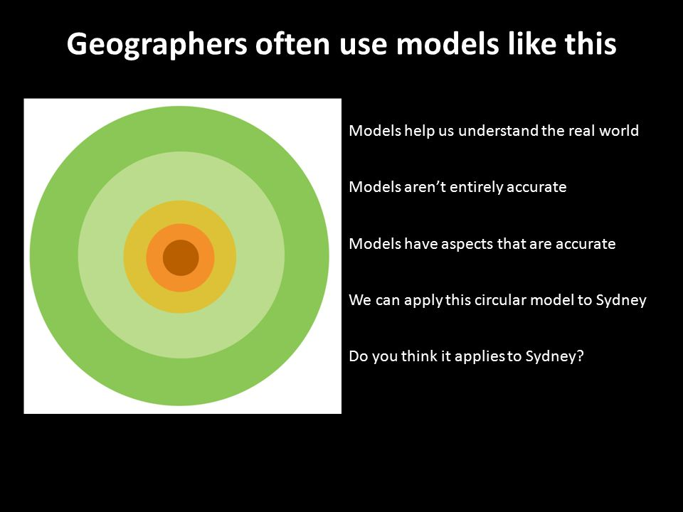 Geographers often use models like this